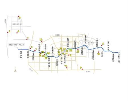 郑州地铁一号线站点分布 路线图